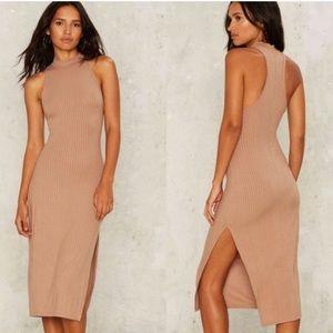 Lux LA | Beige Ribbed Midi Dress